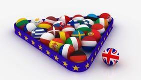 Η Ευρωπαϊκή Ένωση υπό μορφή σφαιρών μπιλιάρδου πυραμίδων και το Ηνωμένο Βασίλειο έξω από στοκ φωτογραφίες
