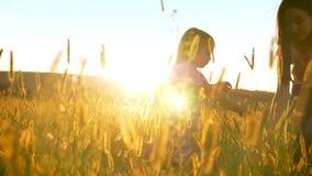 Η ευτυχής ασιατική μητέρα με την κόρη περπατά στον τομέα το καλοκαίρι, παίρνει τις συγκομιδές, οικογενειακή έννοια φιλμ μικρού μήκους
