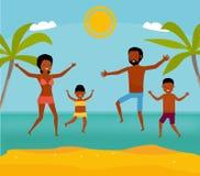 Η ευτυχής αφρικανική οικογένεια έχει τη διασκέδαση και ζει υγιής τρόπος ζωής στην παραλία Ενεργός έννοια ταξιδιού Επίπεδο ύφος κι ελεύθερη απεικόνιση δικαιώματος