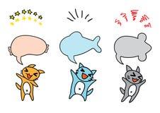 Η ευτυχής γάτα τρία κάνει το μήνυμα Στοκ Εικόνες
