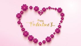 Η ευτυχής ευχετήρια κάρτα ημέρας βαλεντίνων με το ρόδινο και πορφυρό λουλούδι αυξήθηκε floral έννοια υποβάθρου κατάλληλη για το δ απεικόνιση αποθεμάτων