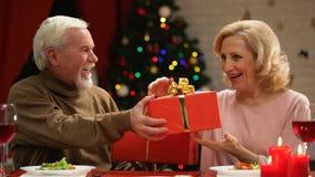 Η ευτυχής ηλικιωμένη ανταλλαγή ζευγών παρουσιάζει, μακράς διαρκείας γάμος, παραμονή Χριστουγέννων απόθεμα βίντεο