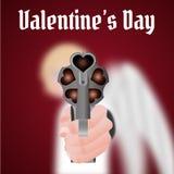 Η ευτυχής ημέρα βαλεντίνων, Cupid φέρνει ένα πυροβόλο όπλο Στοκ φωτογραφία με δικαίωμα ελεύθερης χρήσης