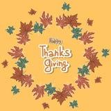 Η ευτυχής ημέρα των ευχαριστιών αφήνει το πλαίσιο Στοκ εικόνα με δικαίωμα ελεύθερης χρήσης