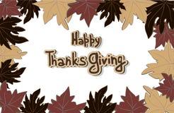 Η ευτυχής ημέρα των ευχαριστιών αφήνει το πλαίσιο Στοκ Φωτογραφία