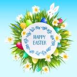 Η ευτυχής κάρτα Πάσχας με τα αυγά, κουνέλι, άνοιξη ανθίζει, πράσινοι χλόη και μπλε ουρανός επίσης corel σύρετε το διάνυσμα απεικό Στοκ φωτογραφία με δικαίωμα ελεύθερης χρήσης
