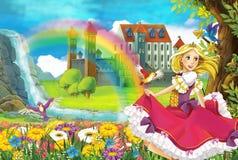 Η πριγκήπισσα - όμορφη απεικόνιση Manga Στοκ Φωτογραφίες