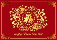 Η ευτυχής κινεζική νέα κάρτα έτους είναι χρυσή κινεζική λέξη σημαίνει την ευτυχία στο διανυσματικό σχέδιο κύκλων ψαριών και λωτού διανυσματική απεικόνιση