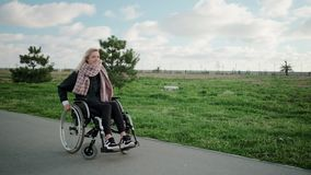 Η ευτυχής νέα γυναίκα το σώμα της στην αναπηρική καρέκλα στην περιοχή πάρκων στην ηλιόλουστη ημέρα απόθεμα βίντεο