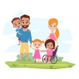 Η ευτυχής οικογένεια με τα παιδιά ανάπηρα αγκαλιάζει Διανυσματική απεικόνιση