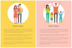 Η ευτυχής οικογένεια ξοδεύει το χρόνο από κοινού Πρόγονοι και κατσίκια διανυσματική απεικόνιση