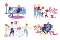 Η ευτυχής οικογένεια που δίνει τα δώρα έθεσε απομονωμένος στο λευκό ελεύθερη απεικόνιση δικαιώματος