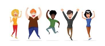 Η ευτυχής ομάδα σπουδαστών πηδά σε ένα άσπρο υπόβαθρο Διανυσματική απεικόνιση σε ένα επίπεδο ύφος ελεύθερη απεικόνιση δικαιώματος