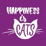 Η ευτυχία είναι γάτες - δώστε τη συρμένη φράση εγγραφής για τους ζωικούς εραστές στο ιώδες υπόβαθρο Διάνυσμα μελανιού βουρτσών δι διανυσματική απεικόνιση