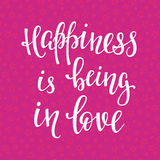 Η ευτυχία είναι ερωτευμένη τυπογραφία αποσπάσματος διανυσματική απεικόνιση