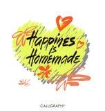 Η ευτυχία είναι σπιτική Εμπνευσμένο απόσπασμα για τη ζωή, σπίτι, σχέση Σύγχρονη φράση καλλιγραφίας Διανυσματική εγγραφή ελεύθερη απεικόνιση δικαιώματος