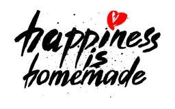 Η ευτυχία είναι σπιτική Εμπνευσμένο απόσπασμα για τη ζωή, σπίτι, σχέση Σύγχρονη φράση καλλιγραφίας Διανυσματική εγγραφή για τις κ ελεύθερη απεικόνιση δικαιώματος