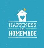 Η ευτυχία είναι σπιτικό απόσπασμα Ιδιότροπη έννοια αφισών τυπογραφίας σπιτιών διανυσματική διανυσματική απεικόνιση
