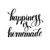 Η ευτυχία είναι σπιτικό χειρόγραφο θετικό εμπνευσμένο απόσπασμα διανυσματική απεικόνιση