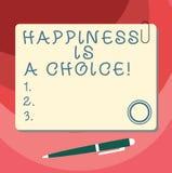 Η ευτυχία κειμένων γραψίματος λέξης είναι μια επιλογή Επιχειρησιακή έννοια για το ευτυχές όλη την ώρα εύθυμο εμπνευσμένο παρακινη απεικόνιση αποθεμάτων