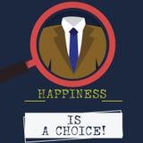 Η ευτυχία κειμένων γραψίματος λέξης είναι μια επιλογή Επιχειρησιακή έννοια για ευτυχή όλη την ώρα εύθυμο παραμονής που εμπνέεται  διανυσματική απεικόνιση