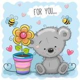 Η ευχετήρια κάρτα αντέχει με το λουλούδι ελεύθερη απεικόνιση δικαιώματος