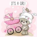 Η ευχετήρια κάρτα αυτό είναι κορίτσι με τη μεταφορά μωρών και teddy ελεύθερη απεικόνιση δικαιώματος