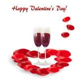 Η ευχετήρια κάρτα ημέρας του βαλεντίνου με δύο ποτήρια του κρασιού και αυξήθηκε πέταλα απεικόνιση αποθεμάτων