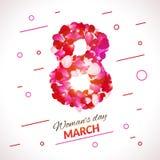 Η ευχετήρια κάρτα με ρόδινο κόκκινο αυξήθηκε πέταλα 8 Μαρτίου - απεικόνιση ημέρας της γυναίκας απεικόνιση αποθεμάτων
