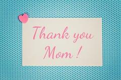 Η ευχετήρια κάρτα σας ευχαριστεί mom Στοκ Φωτογραφία