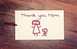 Η ευχετήρια κάρτα σας ευχαριστεί mom Στοκ εικόνα με δικαίωμα ελεύθερης χρήσης