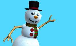 Η ευχετήρια κάρτα του χαμογελώντας ατόμου χιονιού με το μαύρο καπέλο και του κόκκινου και πράσινου μαντίλι με τα κουμπιά στο στήθ στοκ φωτογραφίες