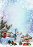 Η ευχετήρια κάρτα Χριστουγέννων με τα δώρα, χιονάνθρωπος, πεύκο διακλαδίζεται και διακοσμήσεις Χριστουγέννων με το διάστημα για τ Στοκ εικόνες με δικαίωμα ελεύθερης χρήσης
