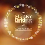 Η ευχετήρια κάρτα Χριστουγέννων με το bokeh ανάβει το στεφάνι, Στοκ εικόνα με δικαίωμα ελεύθερης χρήσης
