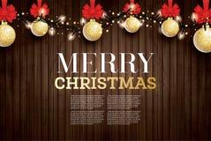 Η ευχετήρια κάρτα Χριστουγέννων με χρυσό ακτινοβολεί σφαίρα Χριστουγέννων και Ρ διανυσματική απεικόνιση