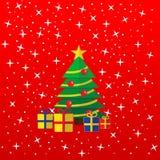 Η ευχετήρια κάρτα Χριστουγέννων presents tree ελεύθερη απεικόνιση δικαιώματος