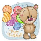 Η ευχετήρια κάρτα Teddy αντέχει με τα μπαλόνια ελεύθερη απεικόνιση δικαιώματος