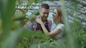 Η εύθυμη γυναίκα αγκαλιάζει και φιλά τα λουλούδια ποτίσματος συζύγων με το δοχείο κήπων Ευτυχές νέο ζεύγος ανθοκόμων στην ποδιά π φιλμ μικρού μήκους