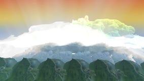 Η ελαφριά ακτίνα διαπερνά τα σύννεφα και τα βουνά απόθεμα βίντεο