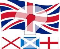 Η.Ε Ηνωμένο Βασίλειο - η σημαία του Union Jack επάνω από τους Ιρλανδούς, Scottis Στοκ Εικόνα