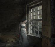 Η ελκυστική γυναίκα στο φόρεμα βραδιού με αυξήθηκε Στοκ Φωτογραφίες