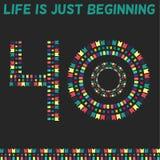Η ζωή αρχίζει ακριβώς Σαράντα έτη, σαράντα χρονών διανυσματική απεικόνιση