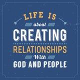 Η ζωή είναι για τη δημιουργία των σχέσεων με το Θεό και τους ανθρώπους διανυσματική απεικόνιση