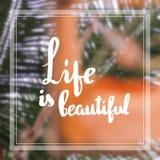 Η ζωή είναι όμορφα αποσπάσματα έμπνευση και κίνητρο στοκ εικόνα