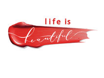 Η ζωή είναι όμορφη - γράφοντας Φράση καλλιγραφίας για τις κάρτες δώρων, ομορφιά blogs διάνυσμα διανυσματική απεικόνιση