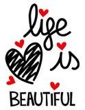 Η ζωή είναι όμορφη καρδιά διανυσματική απεικόνιση