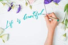 Η ζωή είναι όμορφο κείμενο Πηγή της λέξης εγγραφής στη Λευκή Βίβλο με το πράσινο μελάνι από τον καλλιγράφο απεικόνιση λουλουδιών  στοκ φωτογραφία με δικαίωμα ελεύθερης χρήσης