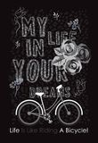 Η ζωή είναι όπως την οδήγηση ενός διανυσματικού σχεδίου μπλουζών ποδηλάτων Στοκ Εικόνα