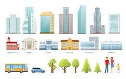 Η ζωή Infographic πόλεων έθεσε με τα κτήρια και τα σύγχρονα σπίτια πόλεων, οικογένεια, αυτοκίνητα, επίπεδα διανυσματικά εικονίδια Στοκ Φωτογραφία