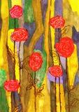 Η ζωγραφική αυξήθηκε λουλούδια ελεύθερη απεικόνιση δικαιώματος